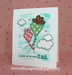 """Lawn Fawn - Yay Kites!, Simple Puffy Clouds, Mom + Me, Hats Off to You, Puffy Cloud Borders _ featured on the Lawn Fawn blog: A Whimsical """"Yay, Kites!"""" Father's Day Card by Elise!"""