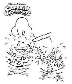 Captain Underpants Connect The Dots Worksheets Coloring Sheets For Kids, Coloring Pages To Print, Coloring Pages For Kids, Coloring Books, Captain Underpants Series, 6th Birthday Parties, 8th Birthday, Monster Coloring Pages, Epic Movie