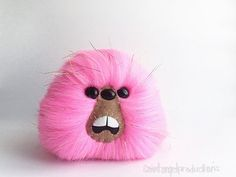 Pink Monster Furry Plush with Gold Tinsel Glitter Strands, Weird Fluffy Bright Handmade Fuzzy Plushie, READY TO SHIP