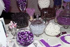 purple and silver candy buffet | Purple Wedding Candy Buffet Purple candy buffet created by
