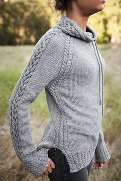 This cabled, drawstring pullover is called Harley and is part of the Knit Picks Twist & Tweeds 2015 Fall Collection.
