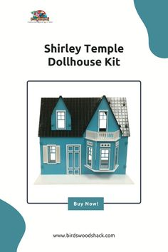 """This is a 3D wooden Shirley Temple dollhouse kit. This dollhouse will NOT come painted or assembled. The dollhouse will be carved out with a laser machine on a 1/8"""" sheet of Baltic Birch plywood. The dollhouse is approximately 14.5"""" wide x 10"""" deep x 12.75"""" high when assembled. #wood #modelhouse #americanhouse #gift #decor #bird'swoodshack #dollhouse"""