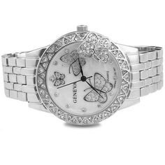 nice Luxury Women's Classic Round Silver Tone Stainless Steel Butterfly Quartz Wrist Watches - For Sale