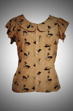 Kitsch Deer Blouse - this would be fab knotted with cigarette pants and pumps