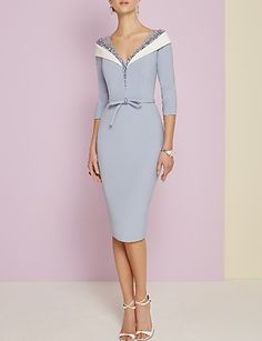 Sheath / Column Plunging Neck Knee Length Jersey Mother of the Bride Dress with Beading / Bow(s) by LAN TING Express Sexy Dresses, Beautiful Dresses, Evening Dresses, Fashion Dresses, Formal Dresses, Wedding Dresses, Hijab Fashion, Mother Of Bride Outfits, Mother Of Groom Dresses