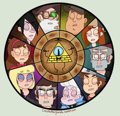 The Bill Cipher wheel with confirmed characters.