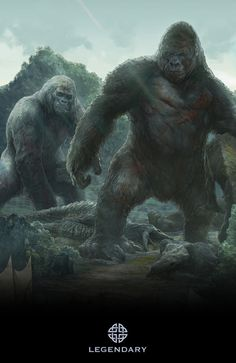 The mother and father of the Kong who will fight Godzilla. All Godzilla Monsters, Cool Monsters, Classic Monsters, Godzilla Comics, Fantasy Creatures, Mythical Creatures, Monster Uni, King Kong Skull Island, King Kong Vs Godzilla