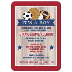 Co-ed or couples sports theme baby shower invitation. This invite is fully-customized and printed for you on your choice of paper! Add your wording to the text fields and your designer will customize it for you and send a proof. The finished product will be delivered right to your door! Perfect for sports theme baby showers, boy baby showers, couples baby shower, co-ed baby showers, and casual baby shower events.