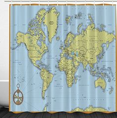 World Map Print Educational Geographical Earth in My Bathroom