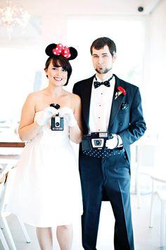 retro disney wedding inspiration board - so cute! love minnie & mickey!