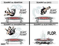 Mitt Romney.  flip flop.  flip flop.  #abortion #gays #immigration