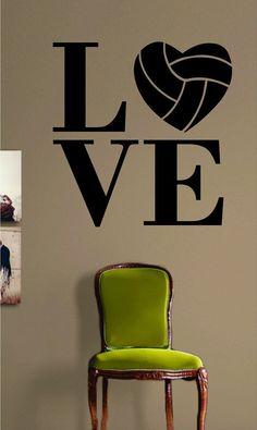 Volleyball Love Decal Sticker Wall Art Vinyl Sports Kid Boy Girl Teen Heart