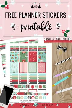 Free weekly set of Christmas planner stickers for the erin condren and other similar weekly planners. Free for personal use only. Free Planner, Weekly Planner, Free Erin Condren, Printable Planner Stickers, Printables, Perfect Planner, Vintage Glam, Sticker Paper, Sticker Design