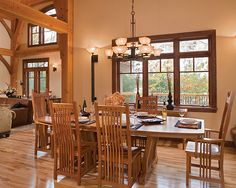 Timber Treasure Timber Frame Home - Dining Room by Riverbend Timber Framing, via Flickr