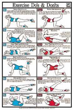 Exercise Do's and Don'ts Fitness Wall Chart Poster - Available at www.sportsposterwarehouse.com