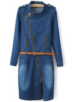 Blue Long Sleeve Epaulet Split Bleached Denim Dress US$37.50
