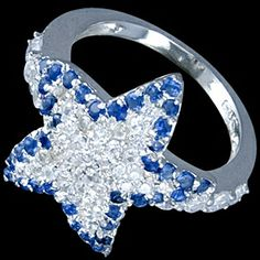 Silver ring, CZ, star Silver ring, Ag 925/1000 - sterling silver. A beautiful white zircon star set in pave lined with blue zircons along the edge. Perfect craftsmanship, beautifully reflects light.