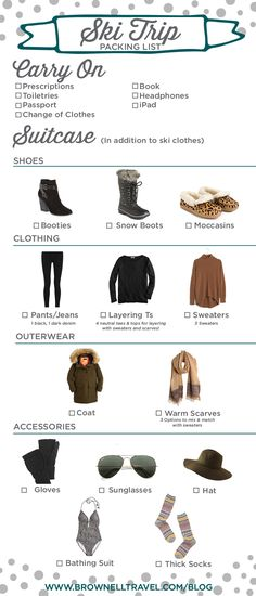 All you need to look perfectly stylish après-ski! http://www.brownelltravel.com/ski-trip-packing-list/