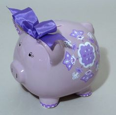 Lavender Medallions are hand painted on this Large Lavender Piggy Bank. It can be done in other colors -- or on a white piggy bank. $49.95.