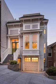 45 luxury modern house exterior design ideas – My Ideas Townhouse Exterior, San Francisco Houses, San Francisco Apartment, Townhouse Designs, 3d Home, House Goals, Modern House Design, Small House Design, Exterior Design