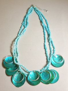 Vintage Necklace Choker Collar Turquoise Disk & by BagsnBling, $14.50