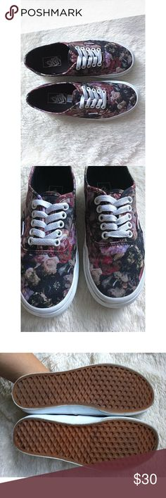 Floral Vans Low top lace up Vans. These have been worn a handful of times during fall but I don't reach for these anymore. I tried my best to show the pattern in the second pic. If you want to see other pics of the pattern, check out my sold listing as I have sold the slip on version of these. 🌸 I don't trade. This is my lowest. Vans Shoes Sneakers