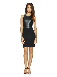 WILFRED FREE ELIN DRESS - Fashioned from a body-hugging combination of stretch ponte and faux leather