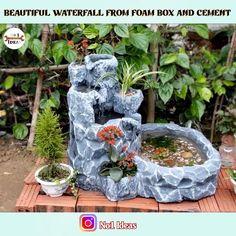 Garden Crafts, Garden Projects, Garden Art, Diy Garden Decor, Diy Water Fountain, Diy Garden Fountains, Diy Waterfall, Garden Waterfall, Diy Pond