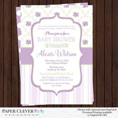 Shabby Chic Baby Shower Invitations -- Purple, Mint Green and Gray Girls Cottage Roses and Stripes Party Printable or Printed Invite