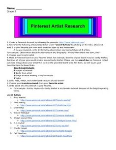 Grade 5 Pinterest Artist Research Art Worksheets, Elementary Art, Research, Student, Learning, Artist, Search, Studying, Teaching