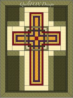 Christian Cross Quilt Pattern Wall Hanging by QuiltPatterns