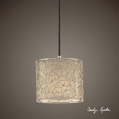 Uttermost Brandon Silver 1 Light Mini Drum Pendant | Nickel Plated Metal With A Silver Champagne Fabric Liner.<br><br>Dimensions (inches): D, W, 8H.