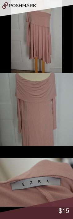 Ezra Dress Light pink loose and flowing dress that is perfect for fall with leggings and boots! Top can be worn on or off shoulders. Not sure of size but I believe it is a M/L. Brand new never been worn. Dresses Long Sleeve