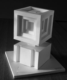 Conceptual Model Architecture, Architecture Model Making, Architecture Concept Diagram, Paper Architecture, Geometric Box, Geometric Shapes Art, Geometric Sculpture, Cube Design, Design Art