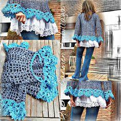 Moda Crochet, Pull Crochet, Crochet Art, Easy Crochet, Crochet Tops, Crochet Clothes, Crochet Sweaters, Knit Vest, Ruffle Blouse