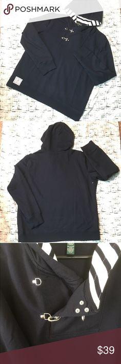 "LRL Navy BlueSilver Clasp Stripe Hoodie Sweatshirt LRL LAUREN JEANS COMPANY RALPH LAUREN HOODIE SWEATSHIRT   Details: 🌟Size:  XL 🌟Navy Blue Color  🌟Striped Navy Blue & White Hoodie 🌟Silver Claps 🌟Pullover Hooded Sweatshirt 🌟Soft Cotton Fabric 🌟Long Sleeves 🌟Fabric:  100% Cotton 🌟Fabric Care:  Machine Washable  Measurements: Chest: 44"" (armpit to armpit, doubled) Sleeve Length:  24"" from shoulder seam Length:  25"" from neckline LRL Lauren Jean Co Sweaters"