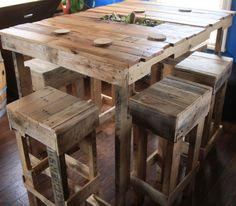 Une table haute de bar en palette  http://www.homelisty.com/table-en-palette/