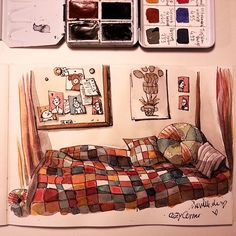 I needed to use colors today to cheer me up. I doodled some colorful cozy corner…