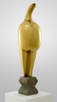 "By Constantin Brancusi, ca. 1912, Maiastra, polished brass, 28 3/4"" high, The Solomon R. Guggenheim Foundation Peggy Guggenheim Collection, Venice."