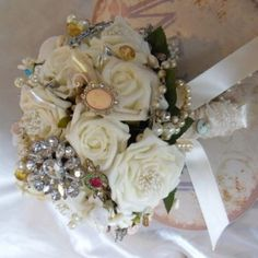 vintage makeup and accesories | ... Accessories › Vintage Brooch Bouquets › Whimsical Ivory Vintage