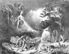 Faust and Mephistopheles at the Witches' Sabbath, from Goethe's Faust. Illustration by Eugene Delacroix, 1828.