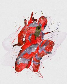 DeadPool Marvel Watercolor Art - VividEditions