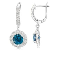 2.5 Carat London Blue, White Topaz and Sterling Silver Earrings
