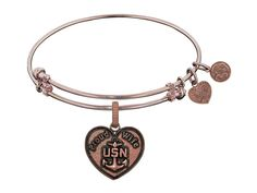 Angelica Collection Brass with Pink Finish Proud Wife U.S. Navy Heart Shaped Expandable Bangle