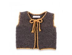 Mamy factory / Kid sleevless cardigan hand-knitted by granny