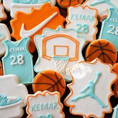 Nike theme birthday, basketball cookies, basket ball, sneaker cookies, nike sneaker, basketball hoop cookies, basketball jersey cookies, royal icing cookies, royal icing, decorated cookies, sugar cookies, birthday cookies, boy birthday ideas, boy birthday cookies  Gourmet Cookies, Fancy Cookies, Holiday Cookies, Cupcake Cookies, Sugar Cookies, Basketball Cookies, Basketball Birthday, Basketball Hoop, Basketball Jersey