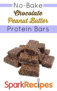 No-Bake Chocolate Peanut Butter Protein Bars. This is my favorite snack right now--I've made 2 batches in the past month. YUM! | via @SparkPeople #protein #snack #healthyliving #healthyeating #protein