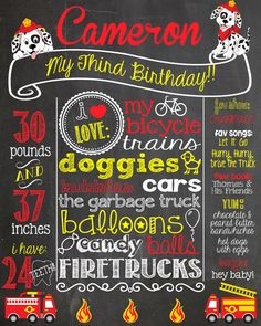 Fire Truck First Birthday Chalkboard Poster by PersonalizedChalk, $34.00