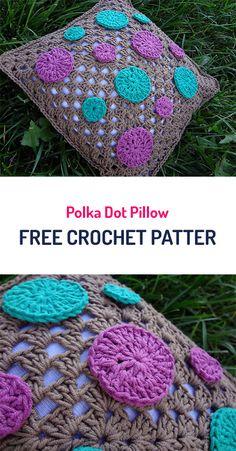 Polka Dot Pillow Free Crochet Pattern #crochet #crocheting #crocheted #yarn #handmade #crafts #homemade