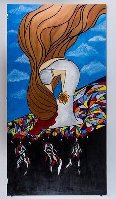 (VENDIDO) - No fundo Painel 3,0metros madeira - Acrílica arte - art - painel - madeira